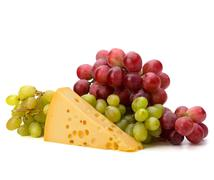Perfect bunch of grapes and cheese Stock Photos