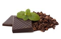 chocolate bars and mint leaf - stock photo