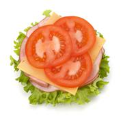 Healthy open sandwich with lettuce, tomato, smoked ham and cheese Stock Photos