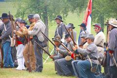 confederate infantry line holds its position - stock photo