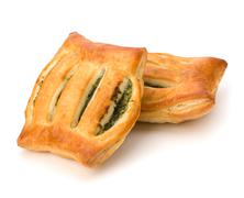 Puff pastry. healthy pasty with spinach. Stock Photos