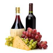 full red wine bottles - stock photo