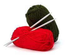 woollen thread and knitting needle. needlework accessories. - stock photo