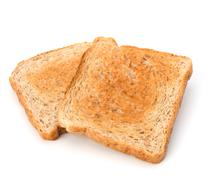 Crusty bread toast slice isolated on white background Stock Photos