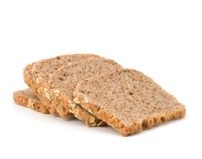 healthy bran bread slices with rolled oats - stock photo