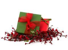 Festive gift box stack Stock Photos