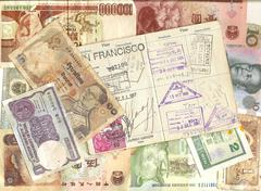 passport and foreign currency - stock photo