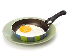 fried egg on pan - stock photo