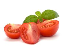 Stock Photo of tomato and basil leaf