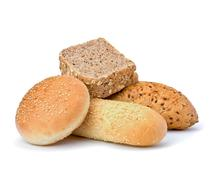 Bread loafs and buns variety Stock Photos