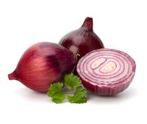 red sliced onion half and fresh parsley still life - stock photo
