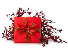 festive gift box - stock photo