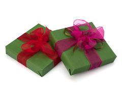 festive gift box stack - stock photo