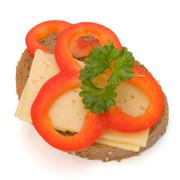 Stock Photo of open healthy sandwich with vegetable