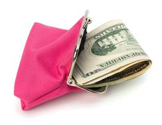 Glamour purse fill with money Stock Photos