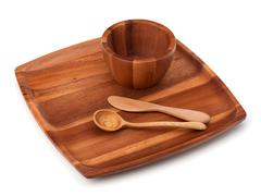 Stock Photo of handmade wooden kitchen dishes