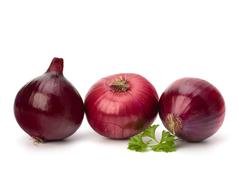 red onion tuber and fresh parsley - stock photo