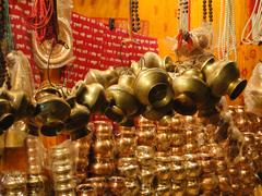 ganges holy water pots - stock photo