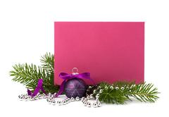 Christmas decoration with greeting card Stock Photos