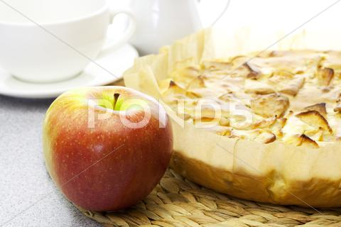 Stock photo of apple pie and apple
