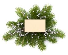 christmas decoration with greeting card - stock photo