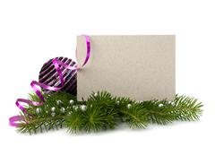 Christmas decoration with greeting card isolated on white background Stock Photos