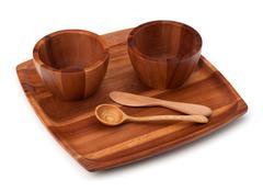 handmade wooden kitchen dishes - stock photo