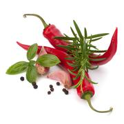 Chili pepper and flavoring herbs Stock Photos