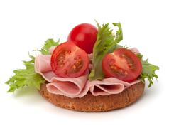 Healthy sandwich with vegetable and smoked ham Stock Photos