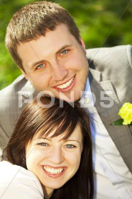 Stock photo of just married on the nature
