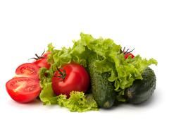 Stock Photo of tomato, cucumber vegetable and lettuce salad