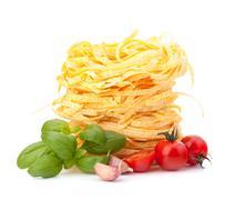 Italian pasta tagliatelle nest Stock Photos