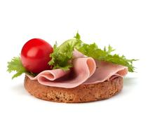 healthy sandwich with vegetable and smoked ham - stock photo
