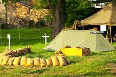 improvised military camp - stock photo