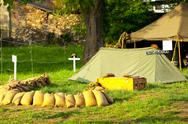 Stock Photo of improvised military camp
