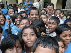 curious indian school children - stock photo