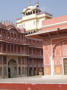 Pink walled inner buildings of  city palace of  jaipur Stock Photos