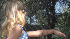 Child Frightened by an Animal in Cage, Girl Putting Hand in Wire Mesh, Children Stock Footage