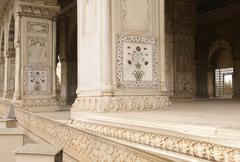 inlaid marble, columns and arches - stock photo