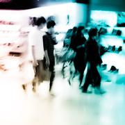 shopping people crowd at marketplace shoe shop - stock photo