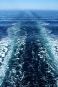 Ferry Trail at Sea - stock photo
