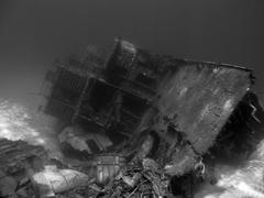 Undwerwater shipwreck in black and white Stock Photos