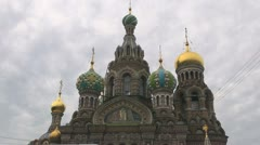\St Petersburg Spilled Blood church and clouds Stock Footage