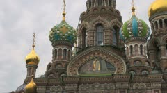 St Petersburg Spilled Blood church wtih domes Stock Footage