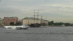 \St Petersburg Neva River three masted cafe - stock footage