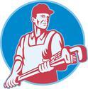 Plumber worker monkey wrench retro. Stock Illustration