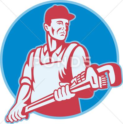 Stock Illustration of plumber worker monkey wrench retro.