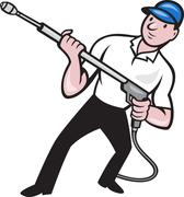 power washing pressure water blaster worker. - stock illustration