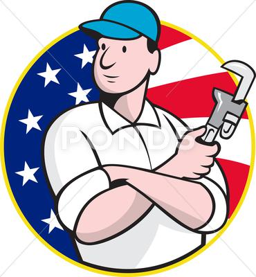 Stock Illustration of american plumber worker with adjustable wrench .