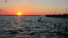 Sunset over the bay and pier Stock Footage